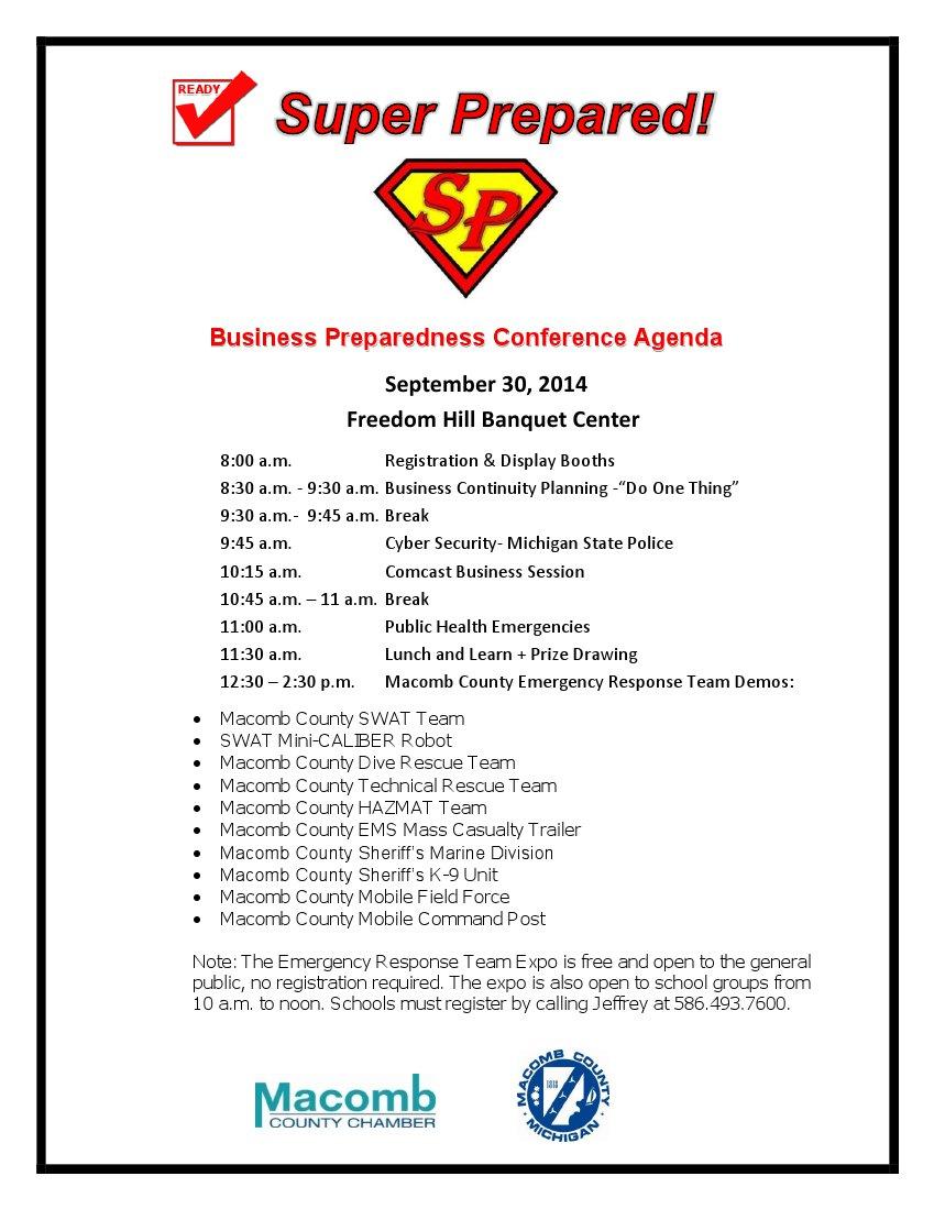 Super Prepared agenda-2014 * Macomb County Chamber of Commerce