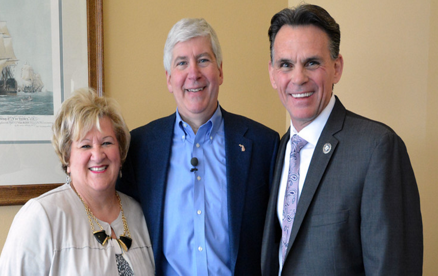 Chamber CEO Grace Shore, Governor Snyder and Macomb County Executive Mark Hackel