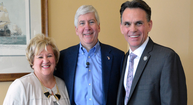 Chamber CEO Grace Shore with Governor Snyder and Macomb County Executive Mark Hackel